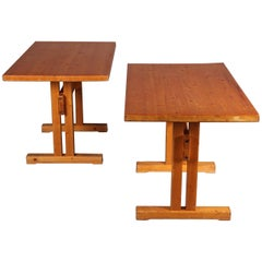Les Arcs Pine Pair of Table by Charlotte Perriand