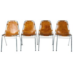 Les Arcs Side Chairs in Cognac Sadle Leather Selected by Charlotte Perriand