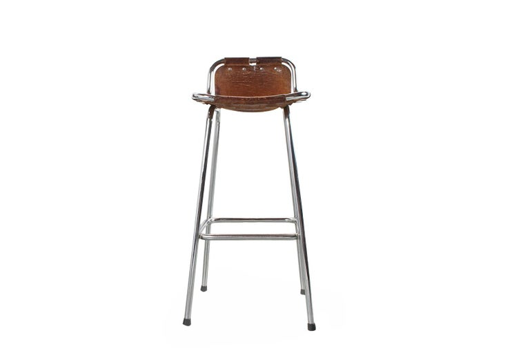 Les Arcs Stool In Camel Coloured Leather Mid Century