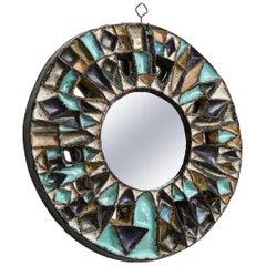 Les Argonautes Ceramic Blue Brown White Large Mirror, Midcentury, 1950s, France