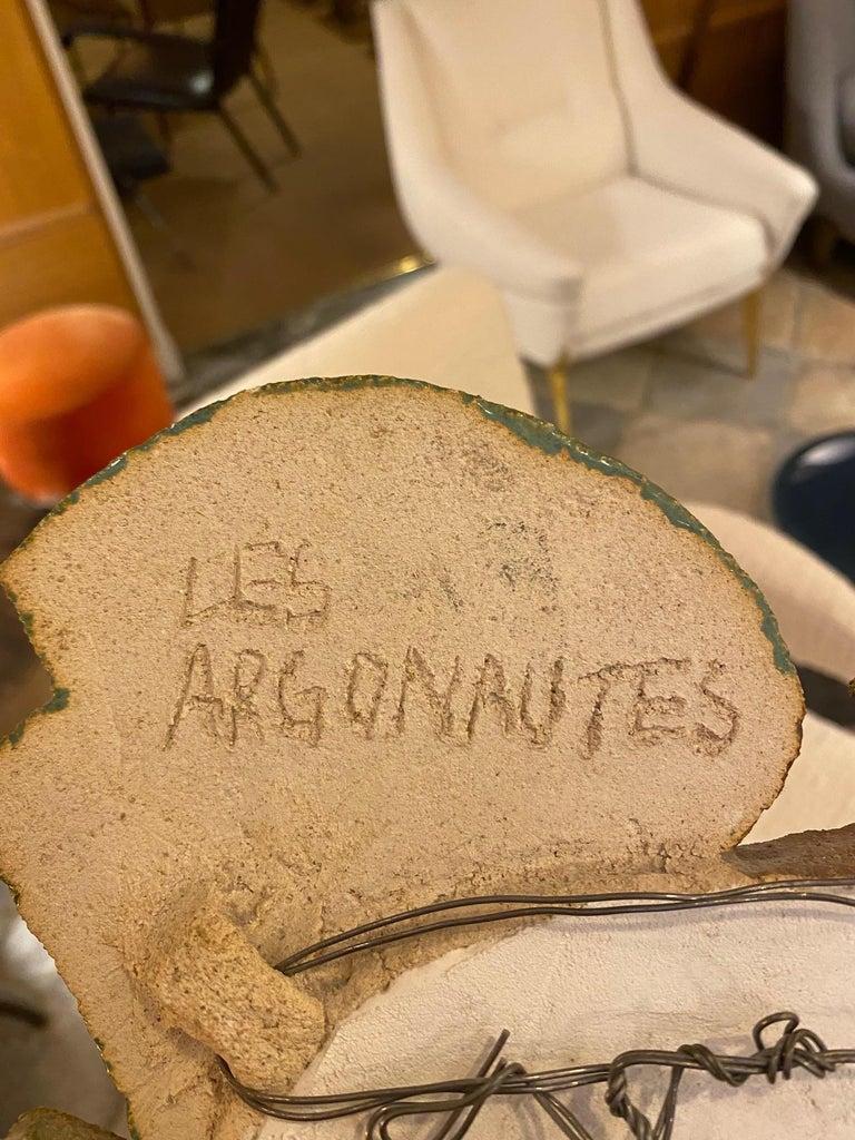 Mid-20th Century Les Argonautes Ceramic Mirror, France, 1960s For Sale