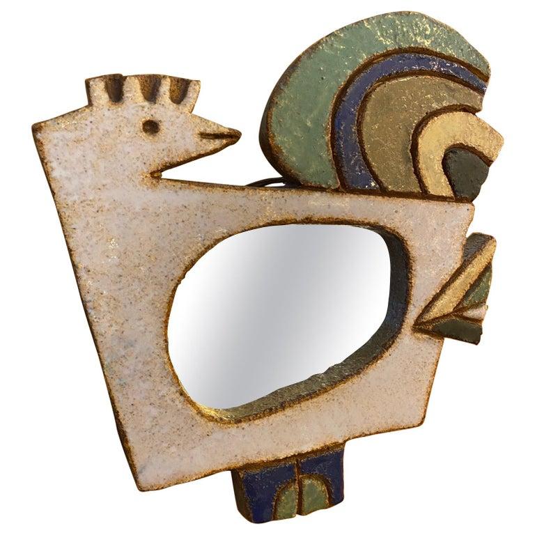 Les Argonautes Ceramic Mirror, France, 1960s For Sale