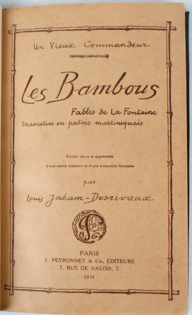 French Les Bambous: Fables de La Fontaine For Sale