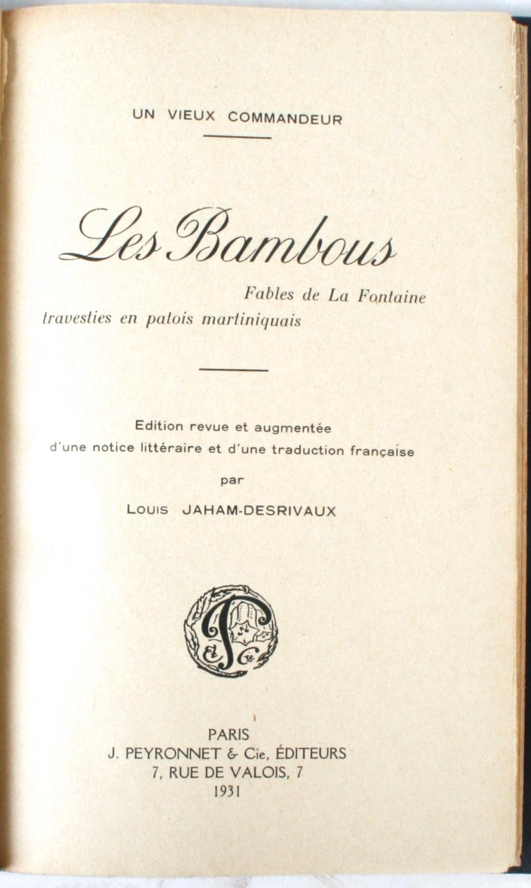 Hand-Crafted Les Bambous: Fables de La Fontaine For Sale