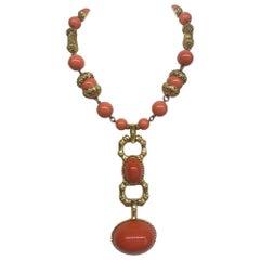 Les Bernard 1980s Coral Cabochon & Gold 1980s Necklace