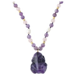 Les Bernard Amethyst and Pearl Frog Necklace