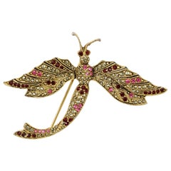 Les Bernard Gold Plated Dragonfly Brooch with Marcasite and Red Pink Rhinestones