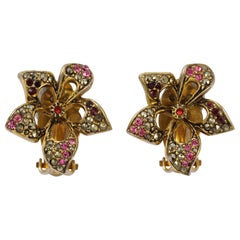 Les Bernard Gold Plated Flower Earrings with Marcasites Red Pink Rhinestones