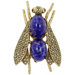 Les Bernard Inc Gold Plated Fly Brooch with Marcasites and Faux Lapis Lazuli