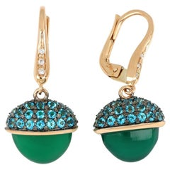18kt Rose Gold Les Bois Earrings With Green Onix and Blue Paraiba