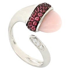 18kt White Gold Les Bois Open Ring with Opal and Pink Topazes