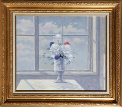 Flower Still Life in front of Window, Oil Painting by Les Bullene