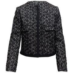 Les Copains Black & White Collarless Tweed Jacket