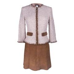Les Copains Jacket Pink Fantasy Tweed Suede Edging Skirt Set 6 New