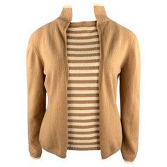 LES COPAINS Size 12 Camel Stripe Cashmere Knit Top 2 Piece Set