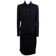 Les Copains Vintage Black Sequin Wool Skirt Suit Size 44