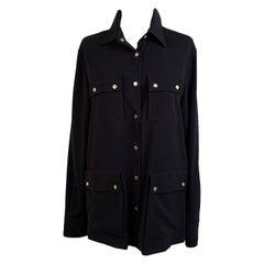 Les Copains Vintage Black Shirt Blouse with Pockets Size 46