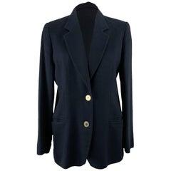 Les Copains Vintage Navy Blue Cupro Blazer Jacket Size 42 IT