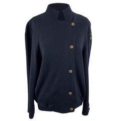 Les Copains Vintage Navy Blue Wool Asymmetric Cardigan Size M