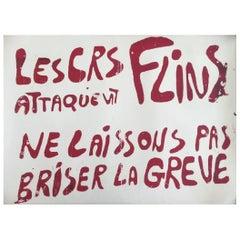 Les Crs Attaquent Flins May 1968 Original Vintage Poster