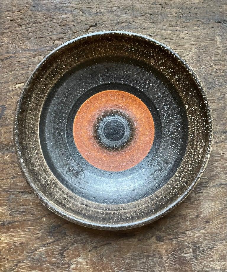 Les Deux Potiers (2 Potiers) ceramic dish, France, c. 1960 Ceramic, enamel glaze  Measures: Height 2 diameter 8 in.