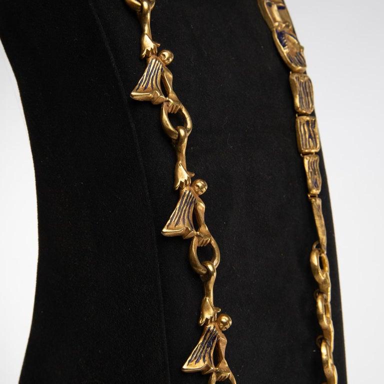 "Mid-Century Modern ""Les femmes de Barbe Bleue"" Gilded Bronze Chain with Blue Enamel, Line Vautrin For Sale"