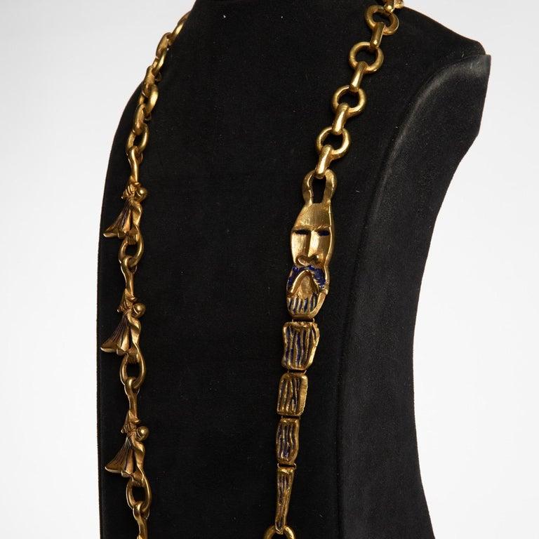 "Gilt ""Les femmes de Barbe Bleue"" Gilded Bronze Chain with Blue Enamel, Line Vautrin For Sale"