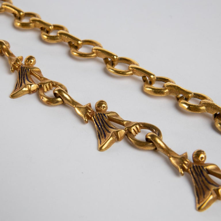 """""""Les femmes de Barbe Bleue"""" Gilded Bronze Chain with Blue Enamel, Line Vautrin In Good Condition For Sale In Brussels, BE"""