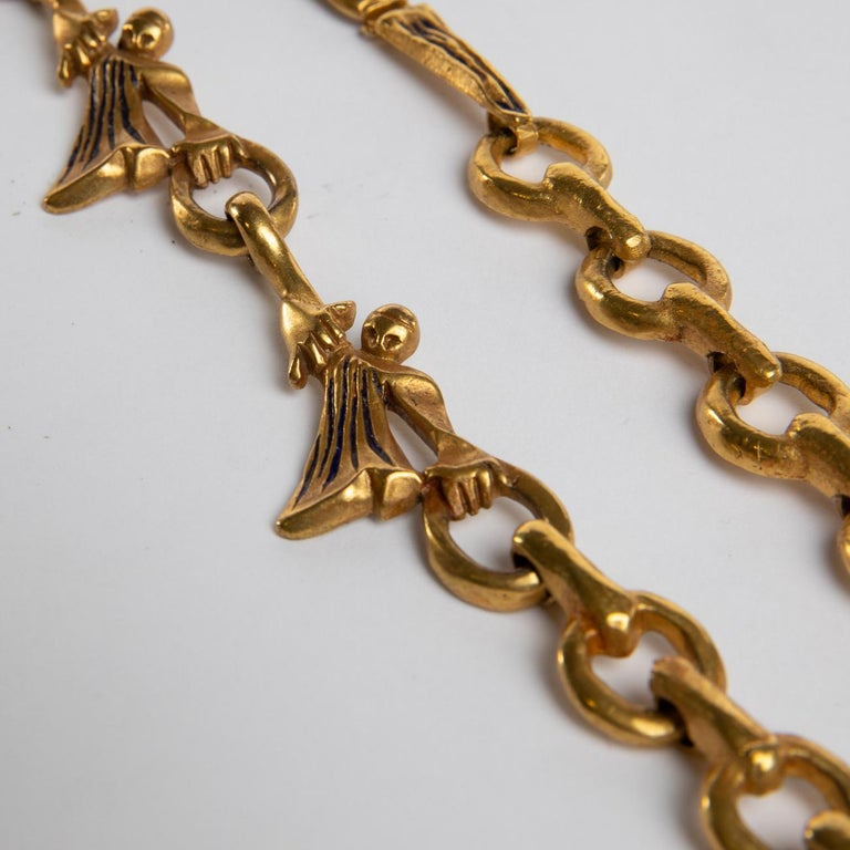 "Mid-20th Century ""Les femmes de Barbe Bleue"" Gilded Bronze Chain with Blue Enamel, Line Vautrin For Sale"