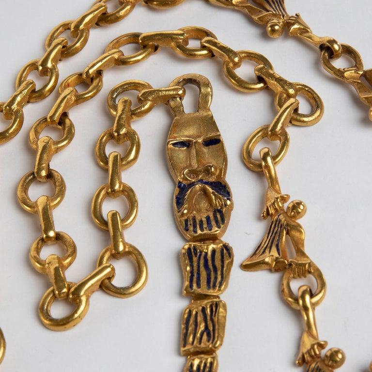 """""""Les femmes de Barbe Bleue"""" Gilded Bronze Chain with Blue Enamel, Line Vautrin For Sale 1"""