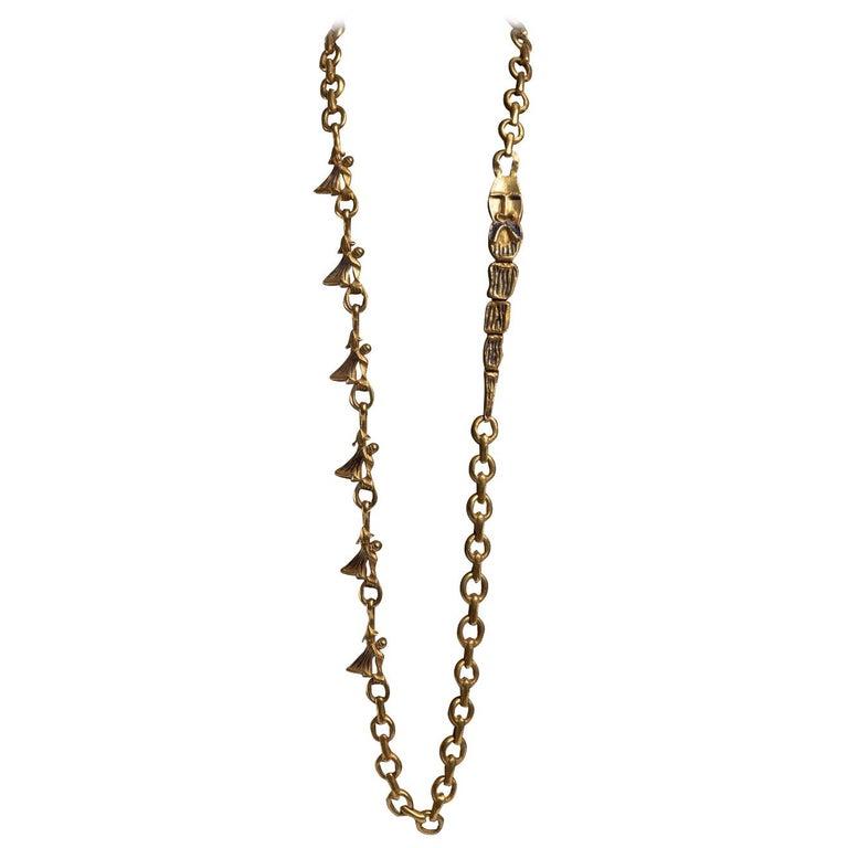 """""""Les femmes de Barbe Bleue"""" Gilded Bronze Chain with Blue Enamel, Line Vautrin For Sale"""