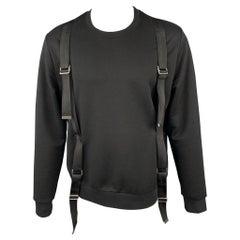 LES HOMMES Size M Black Cotton Crew-Neck Bondage Strap Sweatshirt