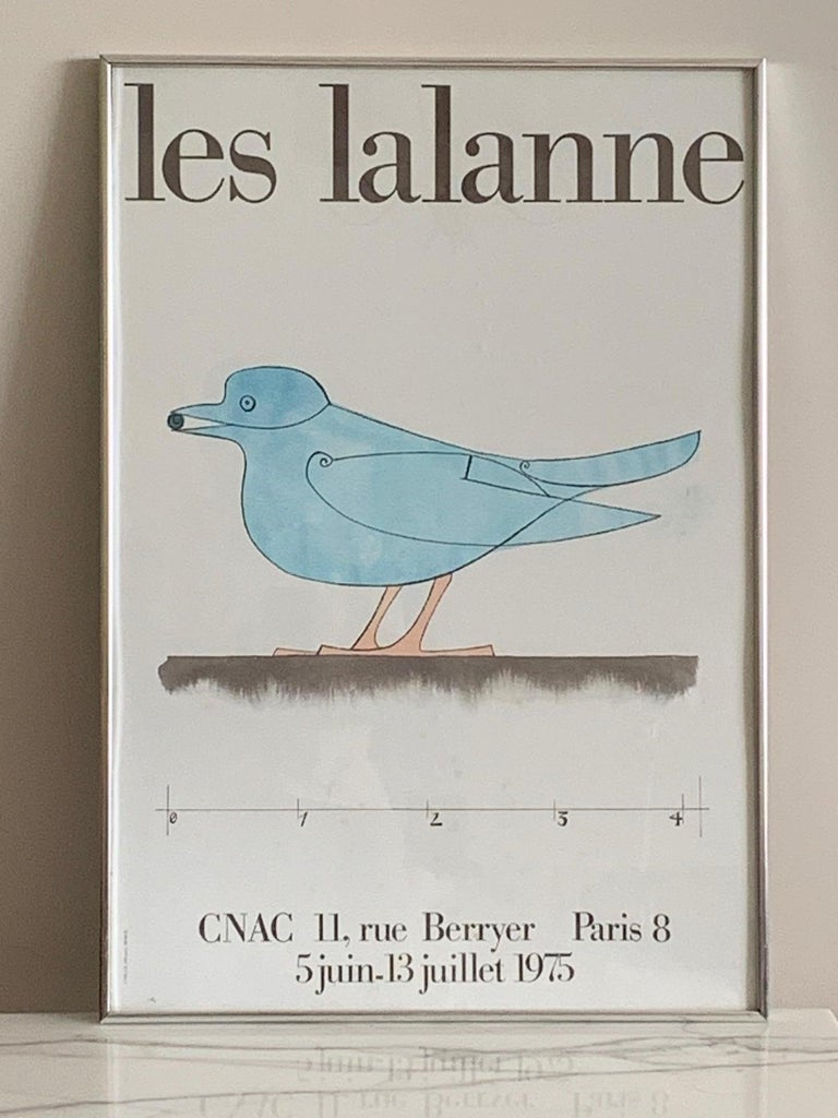 A classic vintage poster by Le Lalanne from a 1975 exhibit at CNAC, Paris. Mounted on board and framed.