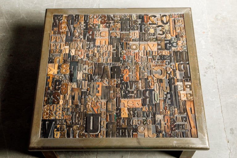 'Les Lettres' Steel and Wood Letterpress Cocktail Table by Raoul W., Signed  For Sale 4