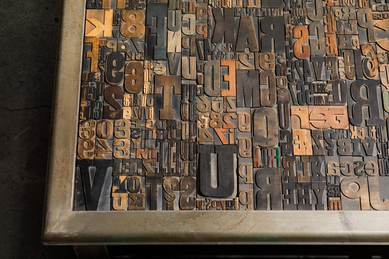 'Les Lettres' Steel and Wood Letterpress Cocktail Table by Raoul W., Signed  For Sale 5