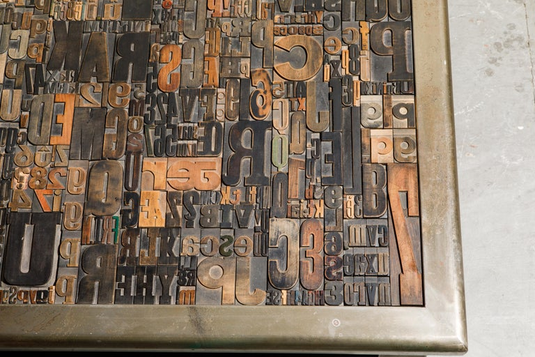 'Les Lettres' Steel and Wood Letterpress Cocktail Table by Raoul W., Signed  For Sale 6