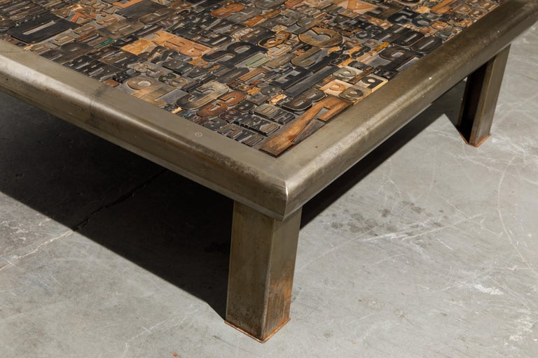 'Les Lettres' Steel and Wood Letterpress Cocktail Table by Raoul W., Signed  For Sale 7