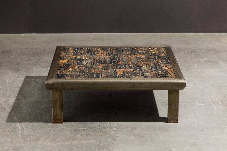 Modern 'Les Lettres' Steel and Wood Letterpress Cocktail Table by Raoul W., Signed  For Sale