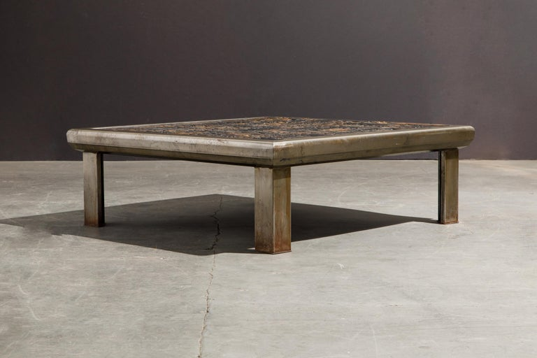 French 'Les Lettres' Steel and Wood Letterpress Cocktail Table by Raoul W., Signed  For Sale