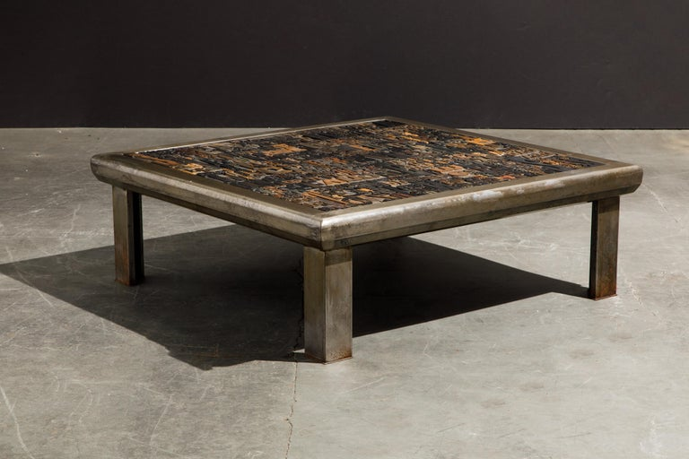'Les Lettres' Steel and Wood Letterpress Cocktail Table by Raoul W., Signed  In Good Condition For Sale In Los Angeles, CA