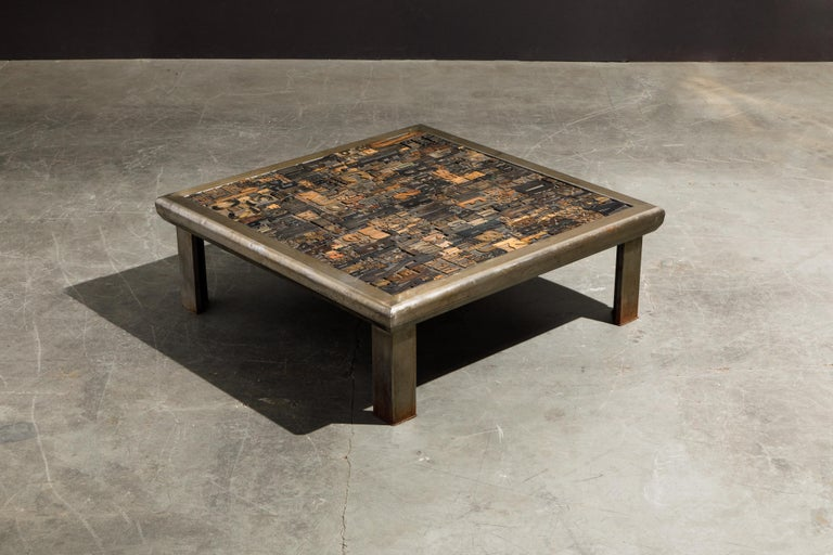 Contemporary 'Les Lettres' Steel and Wood Letterpress Cocktail Table by Raoul W., Signed  For Sale