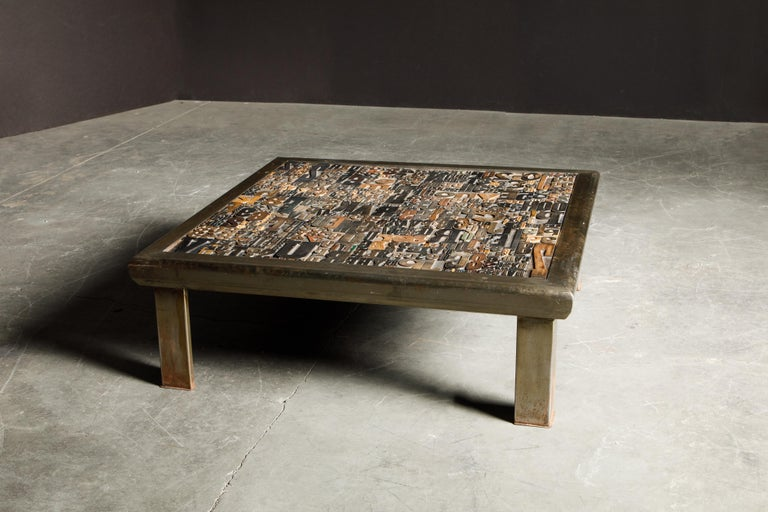'Les Lettres' Steel and Wood Letterpress Cocktail Table by Raoul W., Signed  For Sale 1