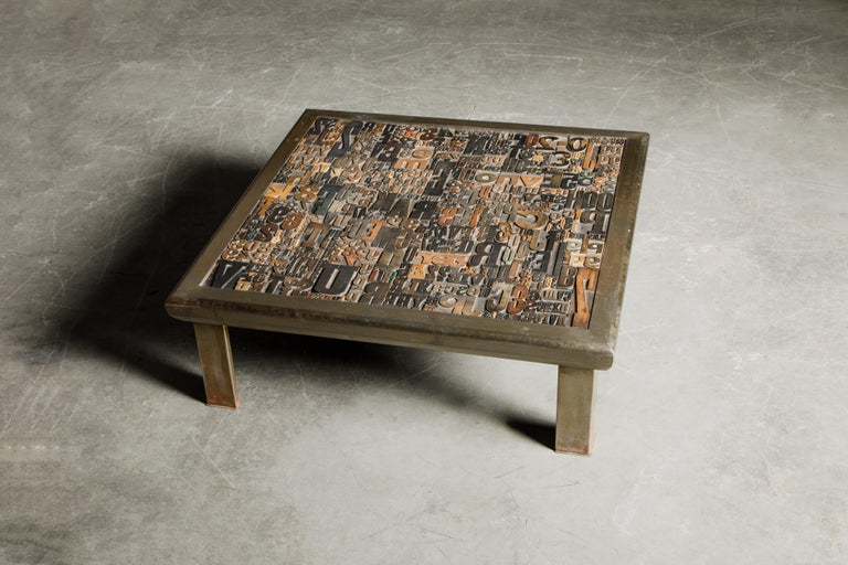 'Les Lettres' Steel and Wood Letterpress Cocktail Table by Raoul W., Signed  For Sale 2