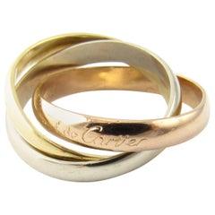 Les Must De Cartier 18 Karat Tri Color Gold Trinity 3-Band Ring
