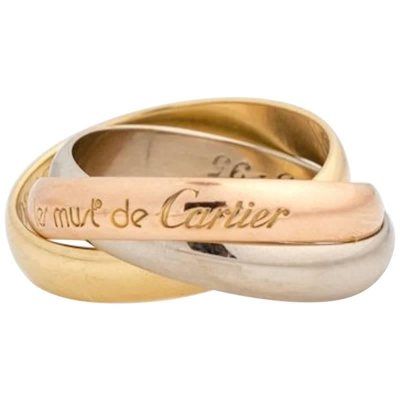 Les Must De Cartier Trinity Band Ring 18 Karat Rose, White and Yellow Gold