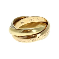 Les Must De Cartier Trinity Rolling Ring 18k Yellow Rose & White Gold