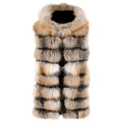Les Noir Hooded Fox Fur & Leather Gilet