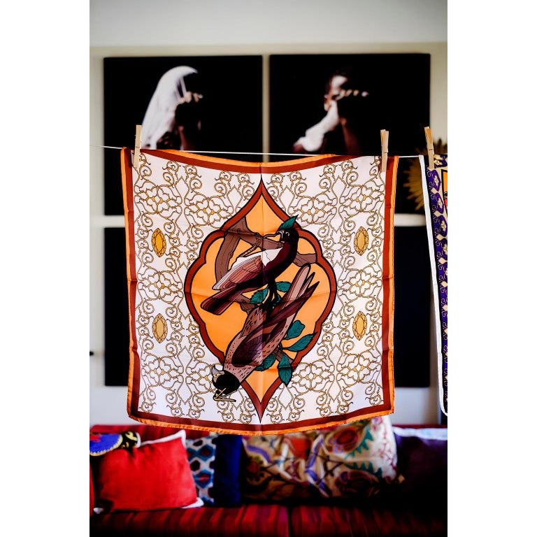 A tropical mood with an Ottoman touch in Alessio Nesi's scarves collection for Les-Ottomans. Made in Italy out of silk these scarves, with a 1940s flavor, are colorful, chic and fashion must have. Here you are seeing the Falcon (Falconeria) in