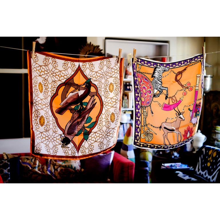 Modern Les Ottomans Falcon Patterned Silk Turkish Scarves by Alessio Nessi For Sale