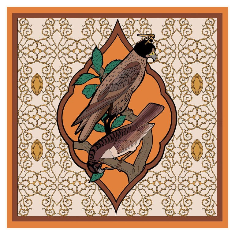 Les Ottomans Falcon Patterned Silk Turkish Scarves by Alessio Nessi For Sale